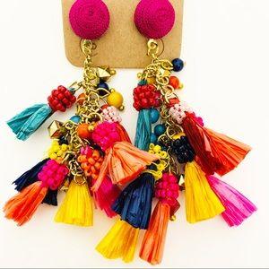 Multicolor Raffia Tassel Drop Earrings